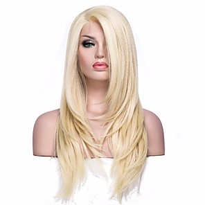 cheap Synthetic Trendy Wigs-Synthetic Lace Front Wig Straight Straight L Part Wig Blonde Medium Length Light golden Synthetic Hair Women's Blonde EEWigs