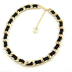 cheap Necklaces-Women's Choker Necklace Elegant Resin Alloy Black Necklace Jewelry For Stage Holiday