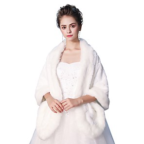 cheap Wedding Wraps-Sleeveless Shawls Faux Fur Wedding / Party / Evening Women's Wrap With Smooth