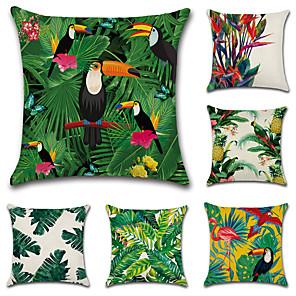 cheap Cushion Covers-Set of 6 Cotton / Linen Pillow Cover, Botanical European Throw Pillow