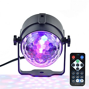 cheap Stage Lights-1pc Mini RGB 3W Crystal Magic Ball Led Stage Lamp DJ KTV Disco Laser Light Party Lights Sound IR Remote Control Christmas Projector AC100-240V