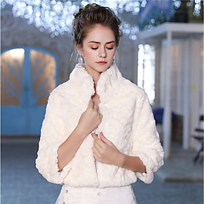 cheap Wedding Wraps-3/4 Length Sleeve Shrugs Faux Fur Wedding / Party / Evening Women's Wrap With Feathers / Fur / Patterned