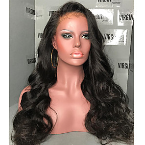 cheap Human Hair Wigs-Human Hair 360 Frontal Wig Side Part style Brazilian Hair Natural Wave Wig 180% Density with Baby Hair Natural Hairline Women's Long Human Hair Lace Wig ELVA HAIR