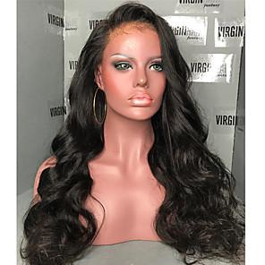 billige Blondeparykker med menneskehår-Ekte hår 360 Frontal Parykk Side del stil Brasiliansk hår Naturlige bølger Parykk 180% Hair Tetthet med baby hår Naturlig hårlinje Dame Lang Blondeparykker med menneskehår ELVA HAIR