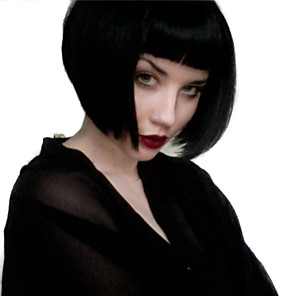 cheap Synthetic Trendy Wigs-Synthetic Wig Straight Straight With Bangs Wig Medium Length Black#1B Synthetic Hair Women's Natural Hairline Black MAYSU