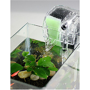 cheap Aquarium Décor & Gravel-Aquarium Fish Tank Fish Tank Filter Aquarium Filter Vacuum Cleaner Waterproof Machine Washable Transparent Waterfall ABS Plastic 1pc 220-240 V / #