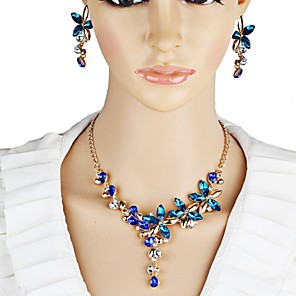cheap Jewelry Sets-Women's Crystal Jewelry Set Flower Elegant Crystal Earrings Jewelry Dark Blue For Party Stage / Necklace