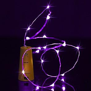 cheap LED String Lights-BRELONG 1 pc 2M 20LED Wine Bottle Copper Wire Light <5V White Light  Warm White Light  Blue Light  Green Light  Purple LightRedPinkYellowMulti Color