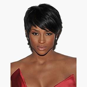 cheap Human Hair Capless Wigs-Human Hair Capless Wigs Human Hair Straight Short Hairstyles 2019 Halle Berry Hairstyles Side Part Short Machine Made Wig Women's