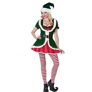 povoljno Santa odijela & Božićna haljina-Djed Mraz Mrs.Claus Kostim Žene Božić Festival / Praznik Polyster Zelen Karneval kostime Miks boja Odmor Božić