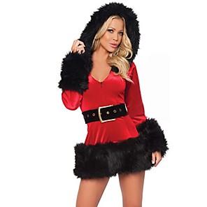 povoljno Santa odijela & Božićna haljina-Djed Mraz Kostim Žene Božić Polyster Haljina / Pojas / Šešir / Pojas / Šešir / Mrs.Claus