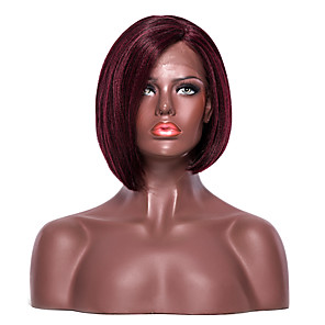 cheap Synthetic Lace Wigs-Synthetic Lace Front Wig Yaki Yaki Bob with Baby Hair L Part Wig Short Dark Wine Synthetic Hair Women's Side Part Red EEWigs