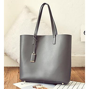 povoljno Tote torbe-Žene Gumbi Kravlja koža Tote torbica Geometrijski oblici Obala / Crn / Sive boje