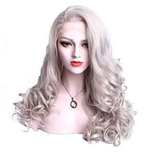 cheap Synthetic Trendy Wigs-Synthetic Lace Front Wig Wavy Wavy with Baby Hair Lace Front Wig Medium Length Grey Synthetic Hair Women's Gray EEWigs
