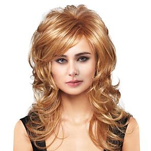 cheap Synthetic Trendy Wigs-Human Hair Blend Wig Long Body Wave Body Wave Side Part Machine Made Women's Natural Black #1B Honey Blonde#24 Medium Auburn#30 24 inch