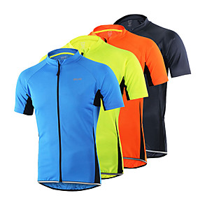 cheap Cycling Jerseys-Arsuxeo Men's Short Sleeve Cycling Jersey Light Yellow Yellow Grey Bike Jersey Top Mountain Bike MTB Road Bike Cycling Breathable Quick Dry Anatomic Design Sports Clothing Apparel / Limits Bacteria