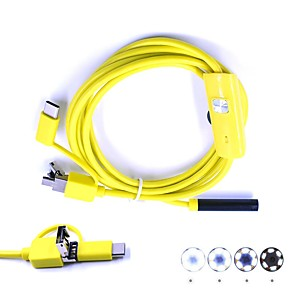 cheap CCTV Cameras-3 in 1 USB Endoscope Camera Inspection Borescop 7mm Lens 2M Hard Cable Waterproof IP67 Snake Cam for Android PC