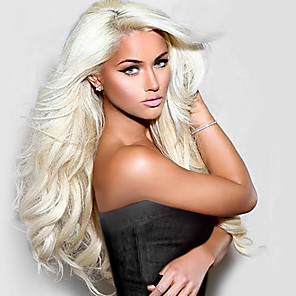 cheap Synthetic Lace Wigs-Synthetic Lace Front Wig Natural Wave Natural Wave Lace Front Wig Blonde Long Light Blonde Synthetic Hair Women's Natural Hairline Blonde