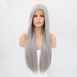 cheap Synthetic Lace Wigs-Synthetic Lace Front Wig Straight Straight Lace Front Wig Long Grey Synthetic Hair Women's Gray
