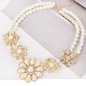 cheap Necklaces-Women's Pendant Necklace Leaf Ladies Classic European Fashion Imitation Pearl Alloy Gold Necklace Jewelry For Daily Formal
