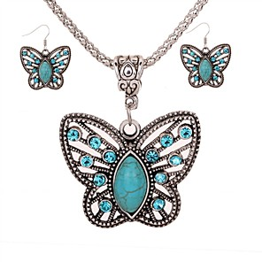 cheap Jewelry Sets-Women's Turquoise Drop Earrings Necklace Butterfly Ladies Elegant Vintage Fashion Elizabeth Locke Turquoise Earrings Jewelry Silver For Daily