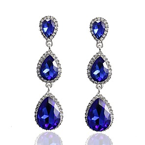 cheap Earrings-Women's Sapphire Crystal Stud Earrings Drop Earrings Hanging Earrings Pear Cut Long Solitaire Drop Ladies Classic Fashion Elegant everyday Crystal Earrings Jewelry White / Red / Blue For Wedding
