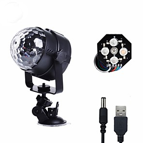 cheap Car Rear View Camera-U'King Disco Lights Party Light LED Stage Light / Spot Light Sound-Activated / Music-Activated 8 W For Home / Outdoor / Party Portable RGB White for Dance Party Wedding DJ Disco Show Lighting