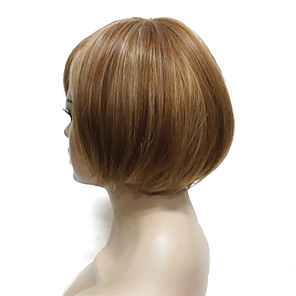 cheap Synthetic Trendy Wigs-Synthetic Wig Straight Straight Bob With Bangs Wig Short Light Brown Synthetic Hair Women's Highlighted / Balayage Hair Side Part Brown StrongBeauty