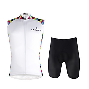 cheap Cycling Jersey & Shorts / Pants Sets-ILPALADINO Men's Sleeveless Cycling Jersey with Shorts White Solid Color Bike Vest / Gilet Padded Shorts / Chamois Clothing Suit 3D Pad Quick Dry Sports Lycra Solid Color Mountain Bike MTB Road Bike