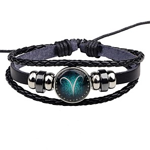 cheap Men's Bracelets-Women's Leather Bracelet Bracelet Zodiac Classic Leather Bracelet Jewelry For Street Going out