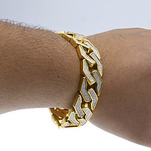 cheap Men's Chain Necklaces-Men's Chain Bracelet Cuban Link Two tone cuff Luxury Rock Hip-Hop Street chic Dubai Gold Plated Bracelet Jewelry Gold / Silver For Casual Club