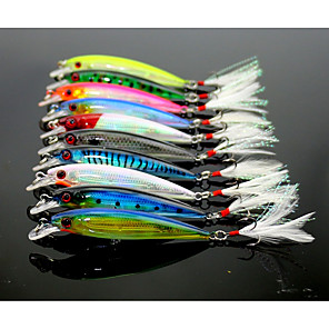 cheap Fishing Lures & Flies-10 pcs Fishing Lures Minnow Floating Bass Trout Pike Lure Fishing ABS