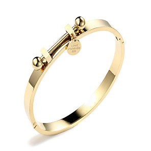 cheap Engraved Bracelets-Women's Bracelet Bangles Ladies Korean Fashion Alloy Bracelet Jewelry Gold / Rose Gold For Gift Daily Date