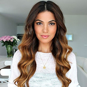 cheap Human Hair Capless Wigs-Human Hair Glueless Lace Front Lace Front Wig Layered Haircut With Bangs Kardashian style Brazilian Hair Body Wave Ombre Two Tone Wig 130% Density with Baby Hair Ombre Hair Women's Medium Length