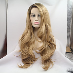 cheap Human Hair Capless Wigs-Synthetic Lace Front Wig Water Wave Water Wave Layered Haircut Monofilament L Part Lace Front Wig Blonde Long Honey Blonde Synthetic Hair Women's Ombre Hair Dark Roots Blonde