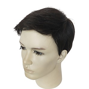 cheap Synthetic Trendy Wigs-Synthetic Wig kinky Straight kinky straight Layered Haircut Wig Short Black#1B Synthetic Hair Men's Natural Hairline Black