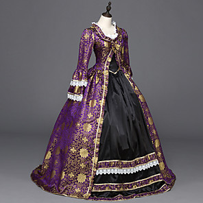 cheap Historical & Vintage Costumes-Punk Lolita Rococo Victorian 18th Century Dress Party Costume Masquerade Women's Girls' Satin Costume Purple Vintage Cosplay Party Prom Long Sleeve Floor Length Ball Gown Plus Size Customized
