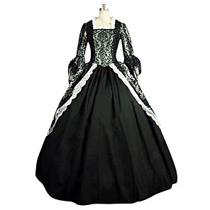 cheap Historical & Vintage Costumes-Rococo Victorian 18th Century Dress Party Costume Masquerade Women's Lace Lace Satin Costume Black Vintage Cosplay Party Prom Long Sleeve Long Length Ball Gown Plus Size Customized
