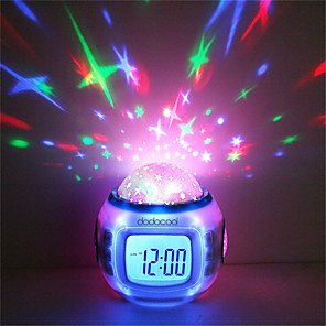 cheap Alarm Clocks-Music Alarm Clock Sky Projector Light Staycation For Children Color-Changing Birthday Gift AAA Batteries Powered