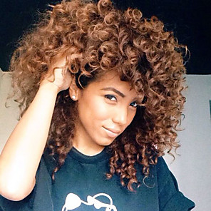 cheap Synthetic Trendy Wigs-Synthetic Wig Curly Curly Wig Medium Length Brown Synthetic Hair Women's African American Wig Brown