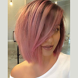 cheap Synthetic Trendy Wigs-Synthetic Lace Front Wig Yaki Yaki with Baby Hair Lace Front Wig Pink Short Black / Pink Synthetic Hair Women's Pink EEWigs