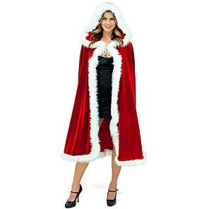 economico Costumi da Babbo Natale & Costumi di Natale-Babbo Natale Mrs.Claus Mantello Santa Clothe Per donna Natale Feste / vacanze Tessuto felpato Rosso Costumi carnevale Tinta unita