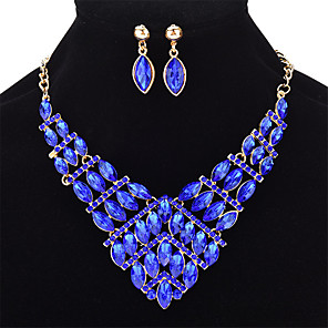 cheap Jewelry Sets-Women's Sapphire Crystal Jewelry Set Geometrical Marquise Cut Ladies Fashion Crystal Earrings Jewelry Light Yellow / Red / Blue For Wedding Party Prom
