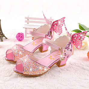 cheap Kids' Tiny Heels-Girls' Comfort / Novelty / Flower Girl Shoes Microfiber Sandals Little Kids(4-7ys) / Big Kids(7years +) Walking Shoes Bowknot White / Pink / Gold Summer / Fall / Wedding / Party & Evening / Peep Toe