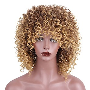 cheap Human Hair Wigs-Synthetic Wig Kinky Curly Kinky Curly With Bangs Wig Short Strawberry Blonde / Medium Auburn Synthetic Hair Women's African American Wig Brown