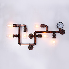 cheap Indoor Wall Lights-Retro Industrial Style Metal Wall Light Dining Room Game Room And Bar 6 Light Water Pipe Wall Sconce