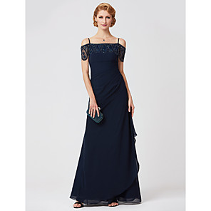 cheap Evening Dresses-Sheath / Column Mother of the Bride Dress Off Shoulder Floor Length Polyester Short Sleeve with Pleats Beading 2020 / Illusion Sleeve