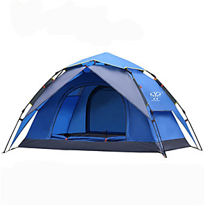 cheap Tents, Canopies & Shelters-Sheng yuan 2 person Backpacking Tent Outdoor Mountaineering Folding Double Layered Automatic Dome Camping Tent 2000-3000 mm for Outdoor Exercise Camping / Hiking / Caving Picnic Oxford cloth