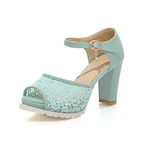 cheap Women's Sandals-Women's Sandals Mesh Chunky Heel Peep Toe Rhinestone / Buckle Lace / Leatherette Mary Jane Summer Pink / Blue / White / Wedding / Party & Evening / Party & Evening