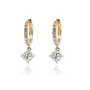 cheap Earrings-Women's Cubic Zirconia Hoop Earrings Sweet Zircon Earrings Jewelry Gold / Silver For Party Daily